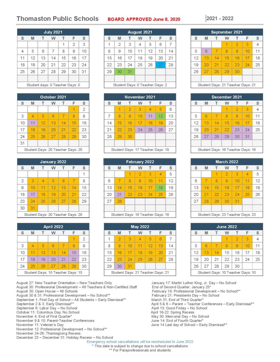 Images of Connecticut School Calendar 2021-2022